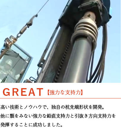 GREAT 【強力な支持力】